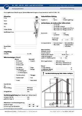 Auslegungsdatenblatt für einwandige Abgasanlagen (MS, MS-B)