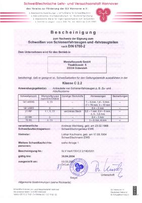 Schweiß-Eignungs-Nachweis DIN 6700-2