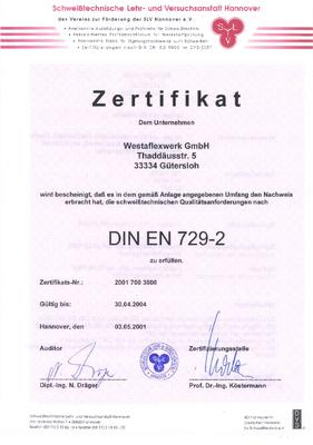 Zertifikat nach DIN EN 729-2