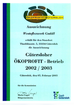 Umwelt-Auszeichnung ÖkoProfit Westaflex