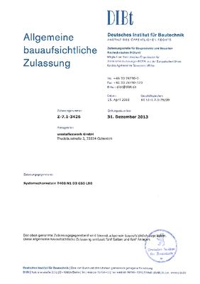 Zulassung Westa-Schachtsystem